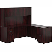 "Offices To Go™ L Desk with Hutch - 72"" - American Mahogany - Bundle #12"