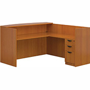 """Offices To Go™ L Reception Station -  71"""" - American Cherry - Bundle #15"""