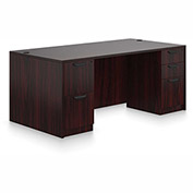 "Offices To Go™ Wood Desk - Double Pedestal - 71"" - American Mahogany - Bundle #17"