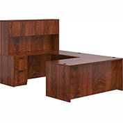 "Offices To Go™ U Desk with Hutch - Double Pedestal - 71"" - American Dark Cherry - Bundle #2"