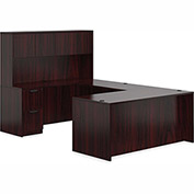 "Offices To Go™ U Desk with Hutch - Double Pedestal - 71"" - American Mahogany - Bundle #2"