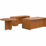 "Offices To Go™ Wood Desk with Credenza and Round Table - 71"" - American Cherry - Bundle #7"