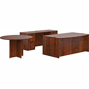 "Offices To Go™ Wood Desk with Credenza and Round Table - 71"" - American Dark Cherry -Bundle #7"