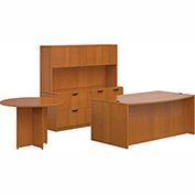 "Offices To Go™ Wood Desk w/ Hutch, Credenza & Round Table - 71"" - Cherry - Bundle #7"