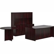 "Offices To Go™ Wood Desk w/ Hutch, Credenza & Round Table - 71"" - Mahogany - Bundle #7"