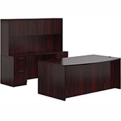 "Offices To Go™ Wood Desk w/ Hutch & Credenza - 71"" - Mahogany - Bundle #7"