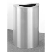 Glaro 14 Gallon Half Round Waste Receptacle, Satin Aluminum - 1891-SA-SA