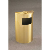 Glaro 6 Gallon Half Round Ash/Urn Side Opening Waste Receptacle, Satin Black - 1894-BK-BK