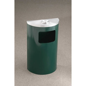 Glaro 6 Gal Half Round Ash/Urn Side Open Wall Receptacle, Hunter Green/Satin Alum - 1894-HG-SA-WM189