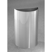 Glaro 16 Gallon Half Round Open Top Waste Receptacle Without Liner, Satin Aluminum - 1896-SA