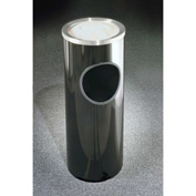Glaro 3 Gallon Ash/Trash Receptacle w/Sand Cover, Satin Black/Satin Aluminum Lid - 192-BK-SA