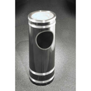 Glaro 3 Gallon Ash/Trash Receptacle w/Sand Cover, Satin Black/Satin Aluminum Band - 1956-BK-SA