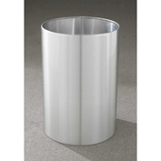 Glaro 39 Gallon Open Top Wastebasket, Satin Aluminum New Yorker Collection - 2029-SA