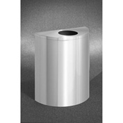 Glaro 29 Gallon Half Round Bottles/Cans Waste Receptacle, Satin Aluminum - 2492-SA-SA
