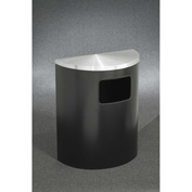 Glaro 24 Gallon Half Round Side Opening Waste Receptacle, Satin Black/Satin Aluminum - 2493-BK-SA