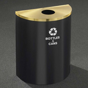 Glaro Recyclepro Half Round Satin Black/Satin Brass, 29 Gallon Bottles/Cans - B2499BK-BE-B&C