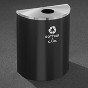 Glaro Recyclepro Half Round Burgundy/Satin Aluminum, 29 Gallon Bottles/Cans - B2499BY-SA-B&C