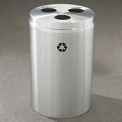 Glaro Recyclespro Triple Stream Satin Aluminum, 30 Gal, Plastic/Cans/Glass - BCB-2032SA-SA