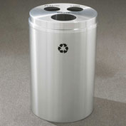 Glaro Recyclespro Triple Stream Satin Aluminum, 30 Gal, Bottles/Cans/Waste - BCW-2032SA-SA