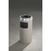 Glaro 10 Gallon Ash/Trash Receptacle w/Sand Cover, Satin Black/Satin Aluminum Lid - C1531-BK-SA