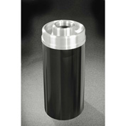 Glaro 33 Gallon Ash/Trash Receptacle w/Donut Top, Satin Black/Satin Aluminum Lid - D2035-BK-SA