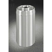 Glaro 33 Gallon Ash/Trash Receptacle w/Donut Top, Satin Aluminum - D2035SA
