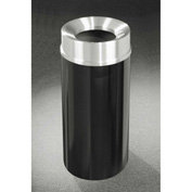 Glaro 16 Gallon Waste Receptacle w/Funnel Top, Satin Black/Satin Aluminum Lid - F1533-BK-SA