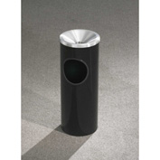 Glaro 3 Gallon Ash/Trash Receptacle w/Funnel Top Ash/Satin Aluminum Lid - F192-BK-SA