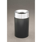 Glaro 33 Gallon Waste Receptacle w/Funnel Top, Satin Black/Satin Aluminum Lid - F2035-BK-SA