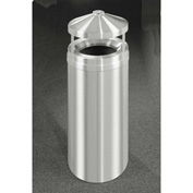 Glaro 16 Gallon Ash/Trash Receptacle w/Canopy Top, Satin Aluminum - H1502SA