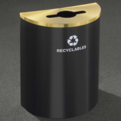 Glaro Recyclepro Half Round Hunter Green/Satin Brass, 29 Gallon Mixed Recyclables - M2499HG-BE-R