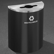 Glaro Recyclepro Half Round Hunter Green/Satin Aluminum, 29 Gallon Mixed Recyclables - M2499HG-SA-R