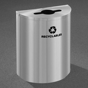 Glaro Recyclepro Half Round Satin Aluminum, 29 Gallon Mixed Recyclables - M2499SA-SA-R