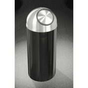 Glaro 16 Gallon Waste Receptacle w/Self Close Dome Top, Satin Black/Satin Aluminum Lid - S1536-BK-SA