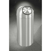 Glaro 16 Gallon Waste Receptacle w/Self Closing Dome Top, Satin Aluminum - S1536SA