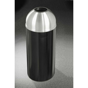 Glaro 16 Gallon Waste Receptacle w/Open Dome Top, Satin Black/Satin Aluminum Lid - T1536-BK-SA