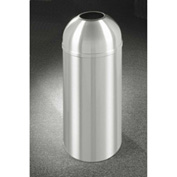 Glaro 16 Gallon Waste Receptacle w/Open Dome Top, Satin Aluminum - T1536SA