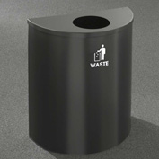 Glaro Recyclepro Half Round Satin Black, 29 Gallon Waste - W2499BK-BK-W