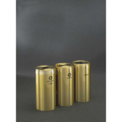 Glaro Value Recyclepro 3 Unit Satin Brass, (3) 15 Gallon Bottles/Cans/Paper/Waste - 1242-3-BE