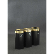 Glaro Value Recyclepro 3 Unit Satin Black/Satin Brass, (3) 15 Gallon Bottle/Can/Paper/Waste - 1242-3