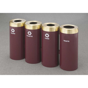 Glaro Value Recyclepro 4 Unit Burgundy/Satin Brass, (4) 15 Gallon Bottles/Paper/Waste/Cans - 1242-4