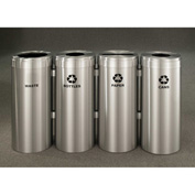 Glaro Value Recyclepro 4 Unit Satin Aluminum, (4) 15 Gallon Bottles/Paper/Waste/Cans - 1242-4-SA
