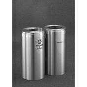 Glaro Value Recyclepro 2 Unit Satin Aluminum, (2) 23 Gallon Bottles/Cans/Waste - 1542-2-SA