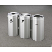 Glaro Value Recyclepro 3 Unit Satin Aluminum, (3) 23 Gallon Bottles/Cans/Paper/Waste - 1542-3-SA
