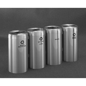 Glaro Value Recyclepro 4 Unit Satin Aluminum, (4) 23 Gallon Bottles/Paper/Waste/Cans - 1542-4-SA