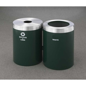 Glaro Value Recyclepro 2 Unit Hunter Green/Satin Aluminum, (2) 41 Gallon Bottles/Cans/Waste - 2042-2