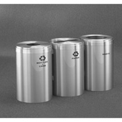 Glaro Value Recyclepro 3 Unit Satin Aluminum, (3) 41 Gallon Bottles/Cans/Paper/Waste - 2042-3-SA