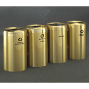 Glaro Value Recyclepro 4 Unit Satin Brass, (4) 41 Gallon Bottles/Paper/Waste/Cans - 2042-4-BE