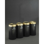 Glaro Value Recyclepro 4 Unit Satin Black/Satin Aluminum (4) 41 Gal Bottle/Paper/Waste/Can - 2042-4