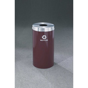 Glaro Recyclepro Single Stream Burgundy/Satin Aluminum, 33 Gallon Bottle/Can - B-2032